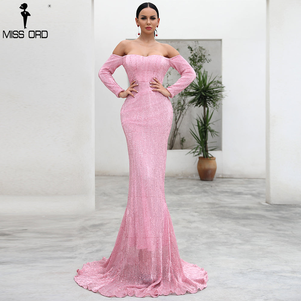 Missord 2020 Sexy BRA Long Sleeve  Sequin  Backless Dresses  Women Skinny Maxi Party Elegant  Dress FT8714-A