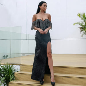 Missord 2020 winter xmas Sexy Elegant V Neck  Tassel Off Shoulder  Glitter one side  High Split  Maxi Dress FT8950-3
