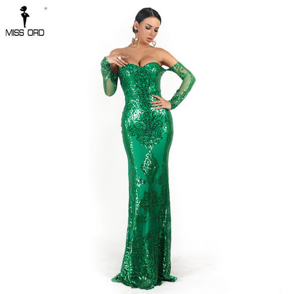 Missord 2020 Women Sexy  Off Shoulder Long Sleeve  Sequin Dresses Female Backless Elegant Maxi Party  Dress FT18669-1