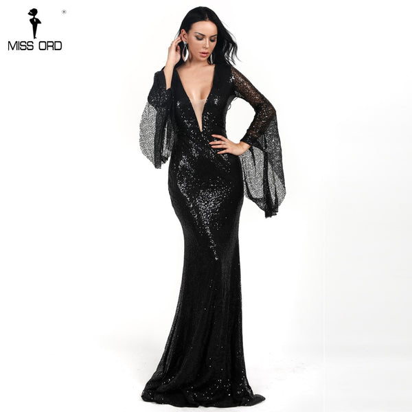 Missord 2020  Women Sexy Deep V Long Flare Sleeve Sequin Dresses Female  Solid Color  Maxi Elegant Party Dress Vestdios  FT18731