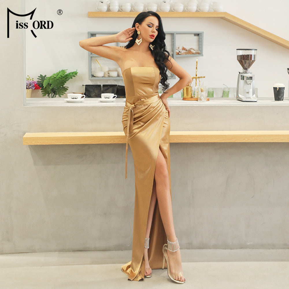 Missord 2020 Sexy Elegant Slash Neck Off Shoulder Solid Color Dresses Female High Split  Backless Dress  FT19010