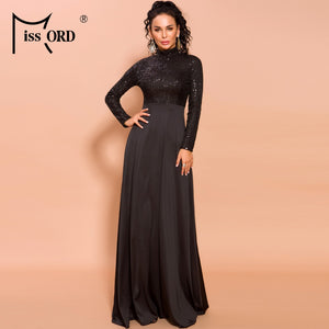 Missord 2020 Autumn and Winter Women Sexy High Neck Long Sleeve Sequin Dresses Female Solid Color Maxi ELegant Dress  FT19693