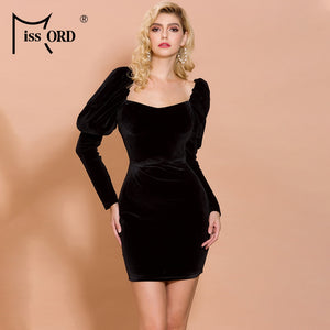Missord 2020 Women Sexy Irregular Neck Long Sleeve Backless Solid Color Dresses Female Elegant Velvet Mini Bodycon Dress FT19817