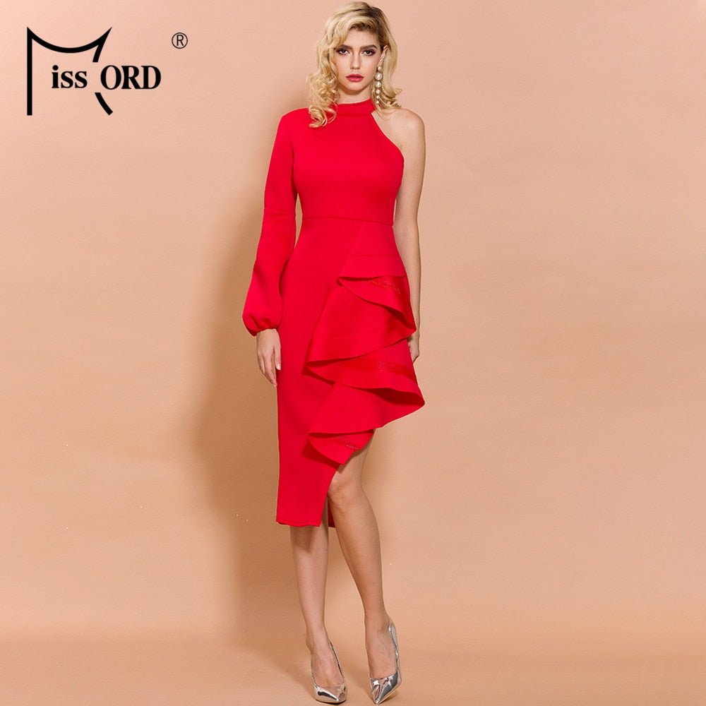 Missord 2020 Women Sexy O Neck Off Shoulder One Sleeve Ruffles Dresses Female Elegant Knee-Length Dress  FT19823