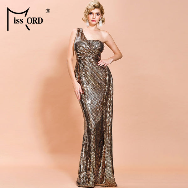 Missord 2020 Elegant One Shoulder Irregular Neck Sequins Women Party Dresses Backless Bodycon Women Maxi Dresses FT19907