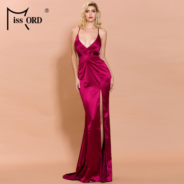 Missord 2020Women Sexy Deep V Off Shoulder Backless Female High Split Solid Color Maxi Elegant Dress FT19458-5