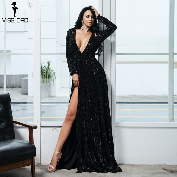 Missord 2020 Women Sexy Deep-V Long Sleeve High Split Reflective Dress Female Solid Color Sequin Dress FT9707