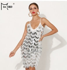 Missord 2020 Women Sexy Off Shoulder Sequin Dress Female Tassel Backless Mini Elegant Bodycon Party Reflective Dress FT18875-1