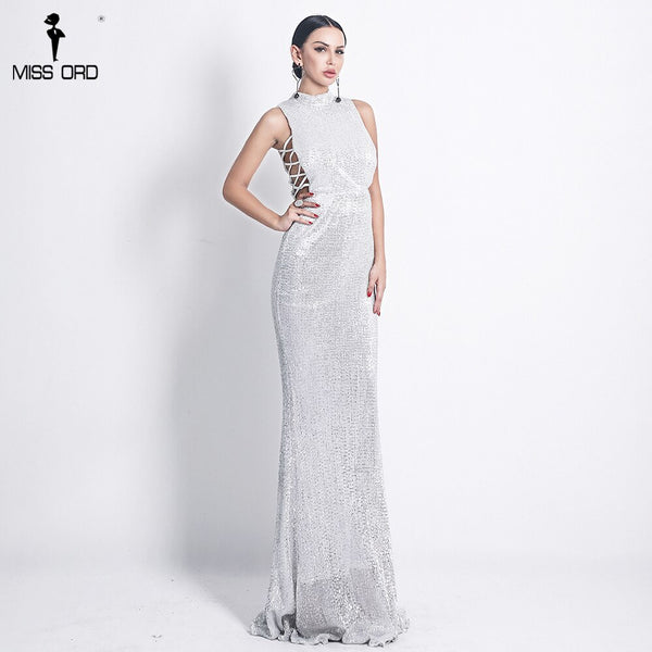 Missord 2020 Sexy O neck  Elegant Sequin  Women Dresses Lace Up Bodycon Maxi Party Dress Vestidos  FT18482-2