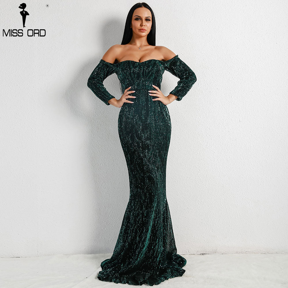 Missord 2020 Sexy  BRA Long Sleeve Off Shoulder Sequin  Backless Dresses  Women Skinny Maxi Party Elegant  Dress FT8714-1
