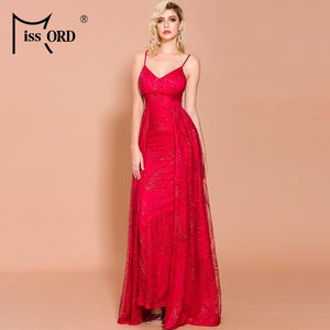 Missord 2020 Sexy V Neck Off Shoulder Glitter Maxi Dresses Female Backless Elegant Prom Maxi Dress  Vestidos FT19292-2