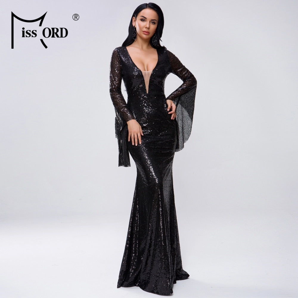 Missord 2020 Women Sexy Deep V Long Flare Sleeve Sequin Female Solid Maxi Elegant Party  Dress Vestdios FT18731-3