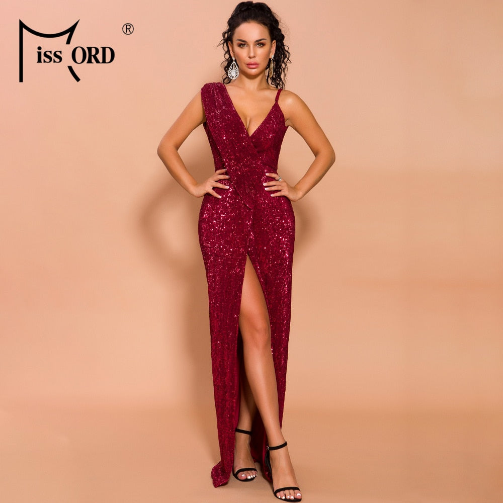 Missord 2020 Sexy Deep V Neck Backless High Split Women Party Dresses Sequins Sleeve Solid Color Elegant Women Dresses FT19702