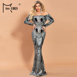 Missord 2020 Women Sexy Slash Neck Off Shoulder Long Sleeve Sequin Dresses Female Elegant Bodycon Maxi Dress FT20082