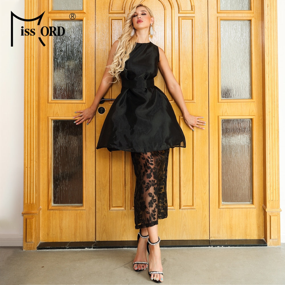 Missord 2020 Women Summer Sexy O Neck Off Shoulder Organza Lace Dresses Female Elegant Ankle-Length Dress AM0013