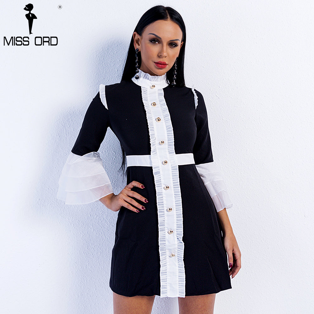 Missord 2019 Sexy Spring and Summer High Neck Flare Sleeve Button Mini Bodycon Dress  FT9017