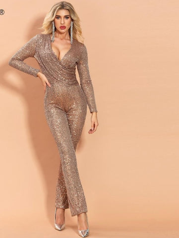 2020 Sexy V Neck Long Sleeve Sequin Jumpsuit Elegant Bodycon Solid Brown Color