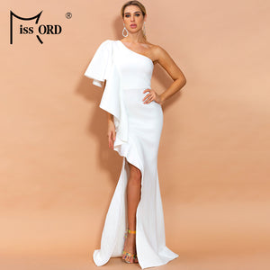 Missord 2020 Women Sexy  Irregular Neck Off Shoulde Sleeveless High Split Ruffles Solid Color Maxi Backless Dress  FT19840-1