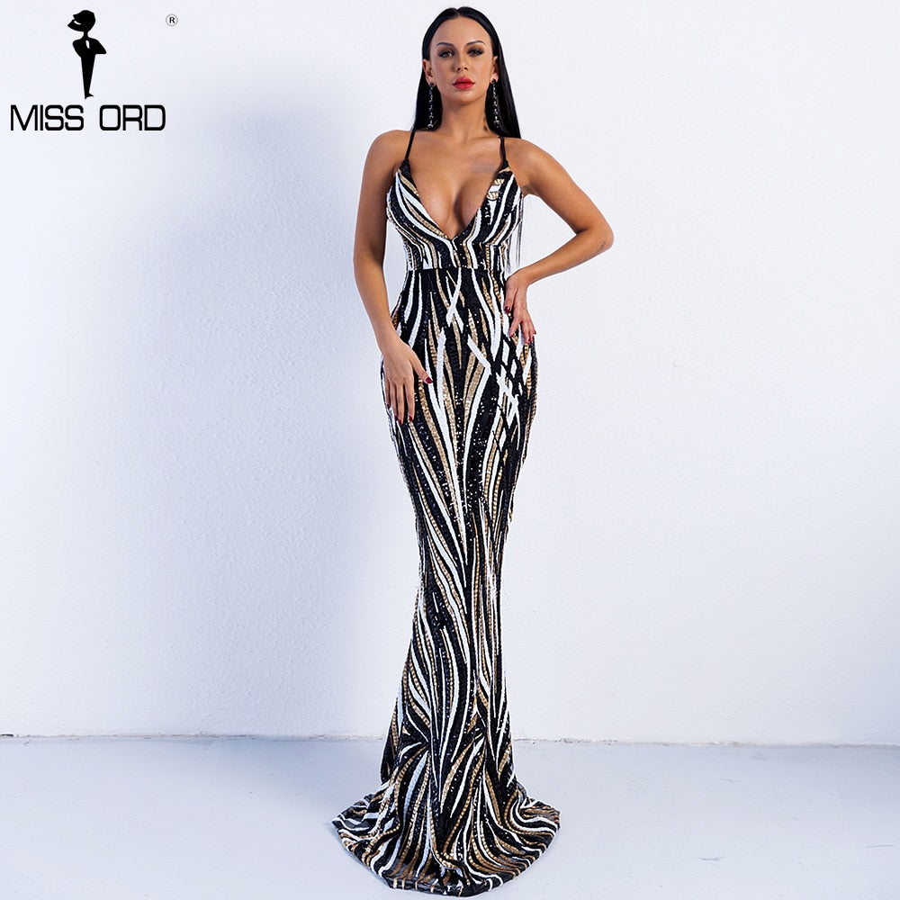 Missord 2020 Sexy Graceful V Neck Off Shoulder Sequin Female Maxi evening Party Dress Vestidos  FT8927