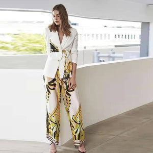 New 2020 Designer Runway  Lacing Belt Blazer Floral Pants Suit