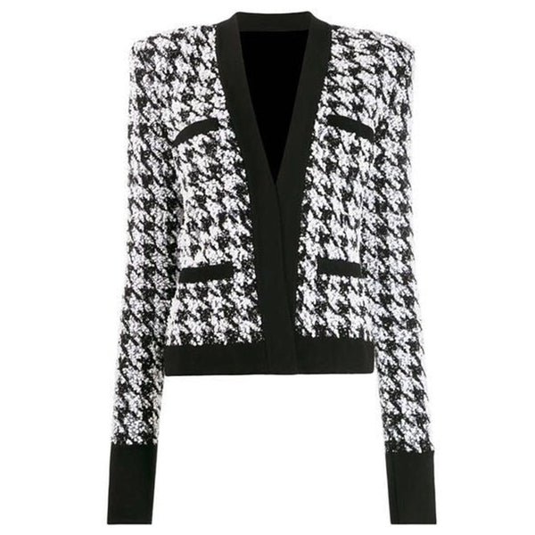 New Fashion Runway 2020 Designer Open Stitch Houndstooth Jacket Outer Wear