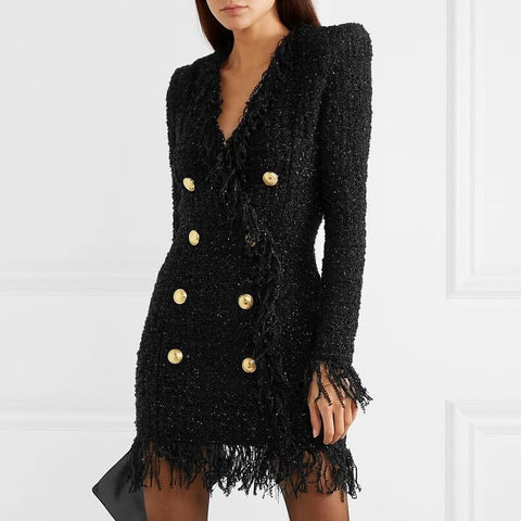 HIGH QUALITY Newest 2020 Long Sleeve Metal Lion Buttons Fringed Tweed Tassel Dress