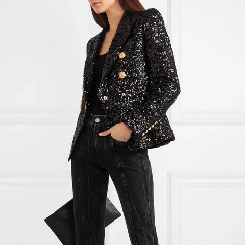 2020 New Designer  Lion Buttons Double Breasted Shimmer Sequined Blazer