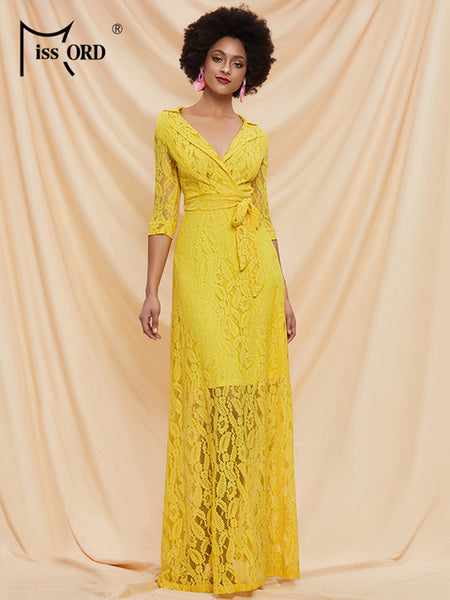 Missord 2020 Spring Summer Solid Color Women Lace Dresses See Though Half Sleeve Women Summer Dresses AM0080