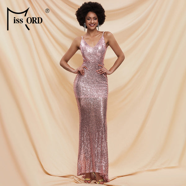 Missord 2020 Summer Deep V Neck Sleeveless Bodycon Female Dresses Sequins Solid Color Backless Women Maxi Dress FT3995
