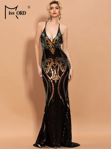 Missord 2020 Spring Summer Sexy Halter Sequins Bodycon Women Maxi Dresses Backless Deep V Neck Elegant Party Dresses FT20202