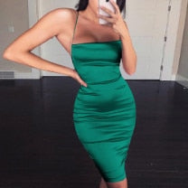 Missord 2020 Women Sexy Off Shoulder Off Shoulder Reflective Dress Backless Cross Bodycon Solid Color Mini Dress  MQ19640-1