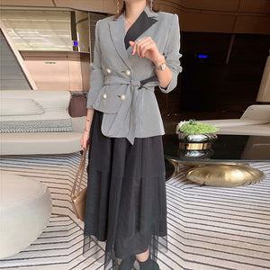 latest Paris fashion show 2020 spring long-sleeved Double Breasted Plaid Blazer Tulle Skirt Set