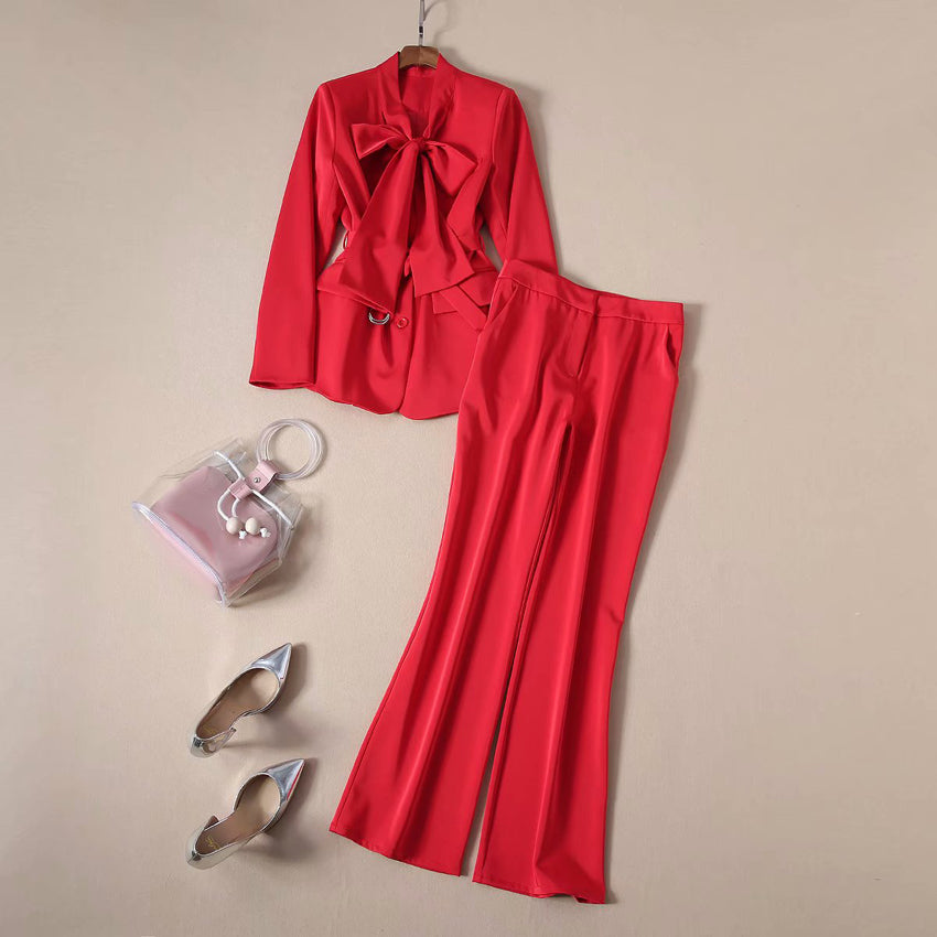 Elegant Bow Collar Long Sleeve Red Lacing Blouse Flare Pants Set
