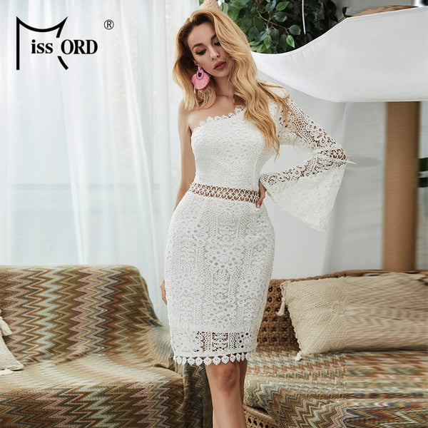 Missord 2020 Summer Irregular Neck Hallow Out Women Midi Dresses One Flare Sleeve Bodycon Women Lace Dresses FT9527