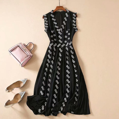 Newest Paris Fashion 2020 Sleeveless Lace Embroidery Embellished Dress