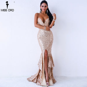 Missord 2019 V Neck Harness Off Shoulder Sequin Female Middle Split Dress Backless Ruffles Maxi Dress Vestdios  FT18300