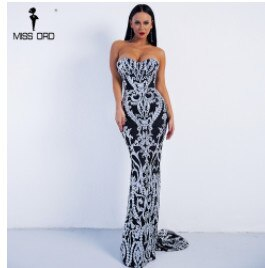 Missord 2017 Sexy Bra Off Shoulder Retro Geometry Sequin Female Reflective Dress Floor Length Party Elegant  Dress FT8888