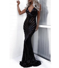 Missord 2019 Sexy v neck Elegant Striped Backless Women Dresses Sequin Bodycon Maxi Party Dress Vestidos FT8928-1