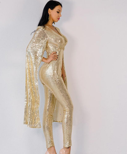 2020 Sexy deep v Angel wings gold color sequin Jumpsuit