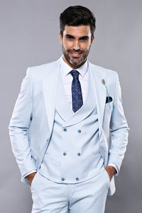 Patterned Sky Blue Vested 3 Piece Slim Fit Suit|Wessi
