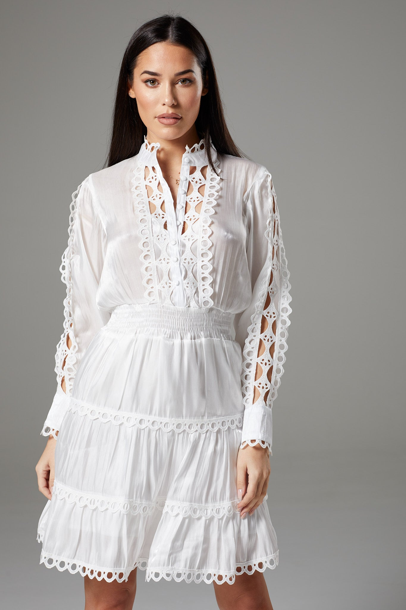 Long Sleeve White Dress with Fancy Lace
