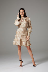 Long Sleeve Beige Dress with Fancy Lace