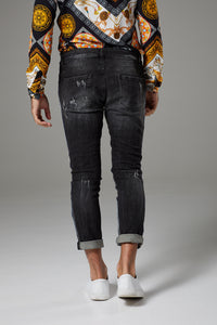 Italian Style Distressed Black Jeans