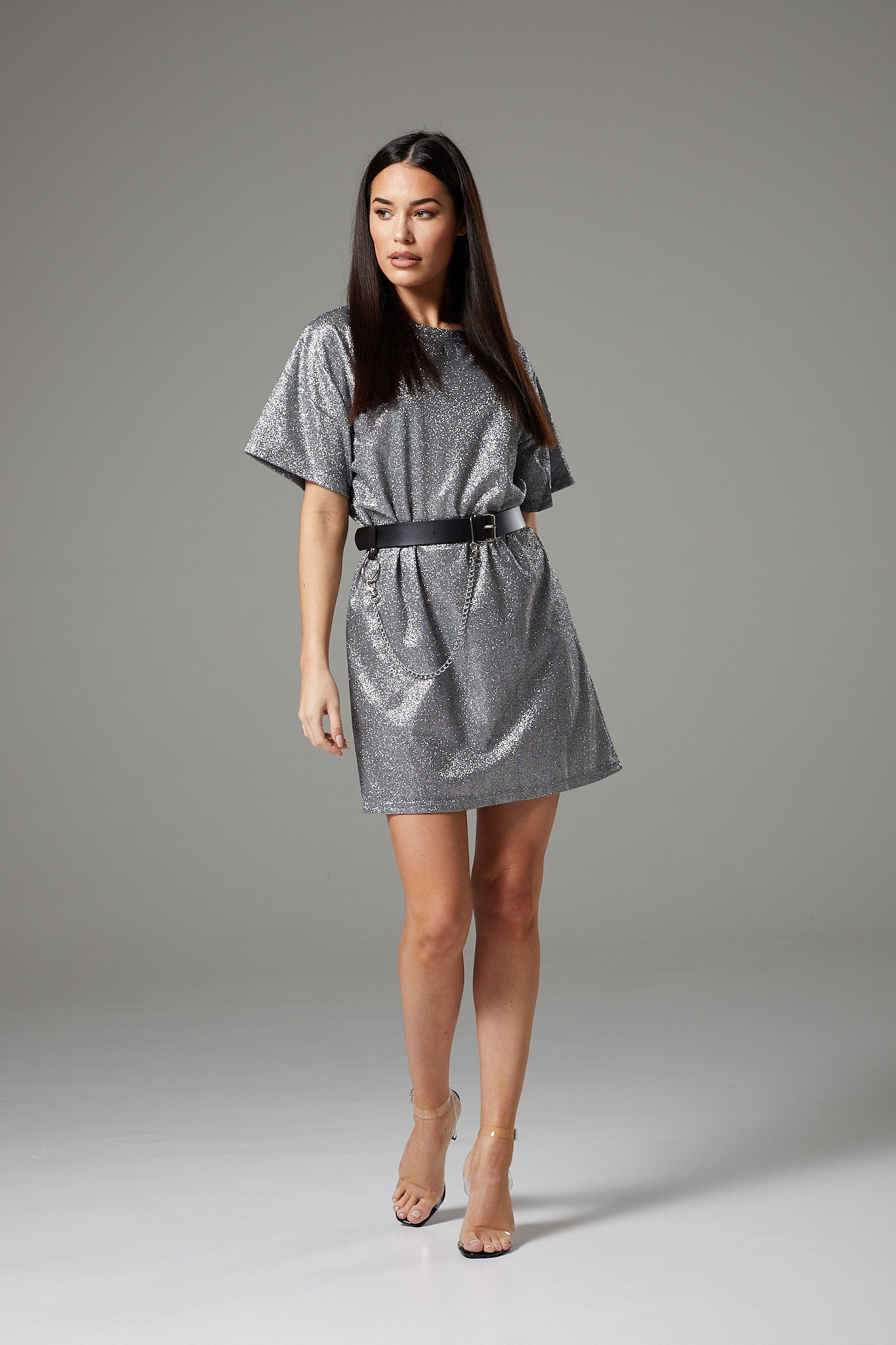 Sparkly Silver Oversized Dress with Belt