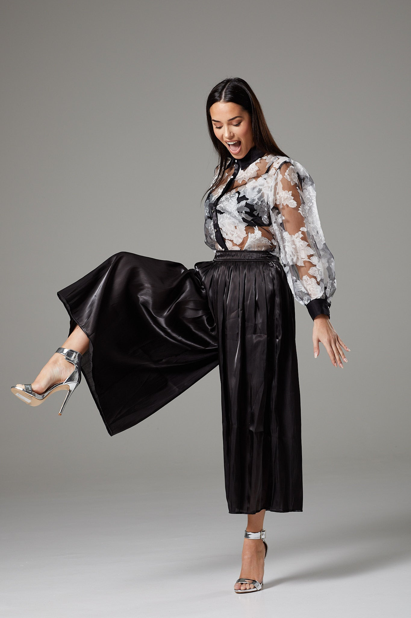 Shiny Black Wide Leg Cropped Culottes