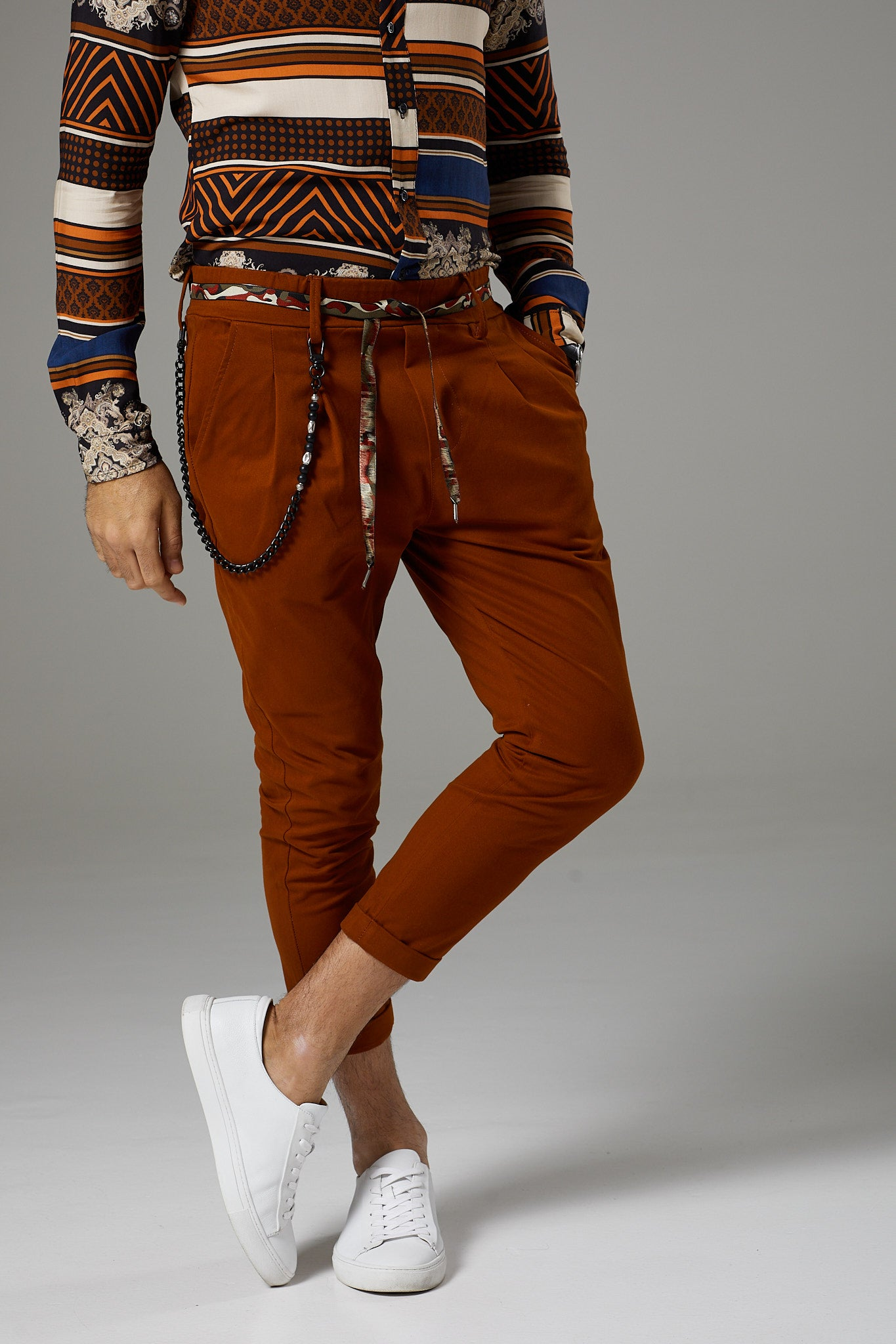 Premium Italian Style Rust Chinos with Tie Belt