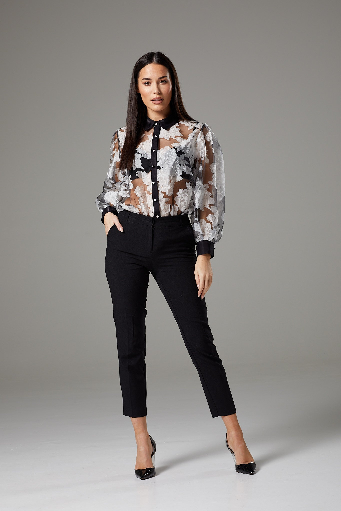 Sheer Black & White Flower Pattern Wide Sleeve Blouse