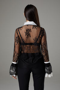 Black & White Lace Flare Sleeve Romantic Blouse
