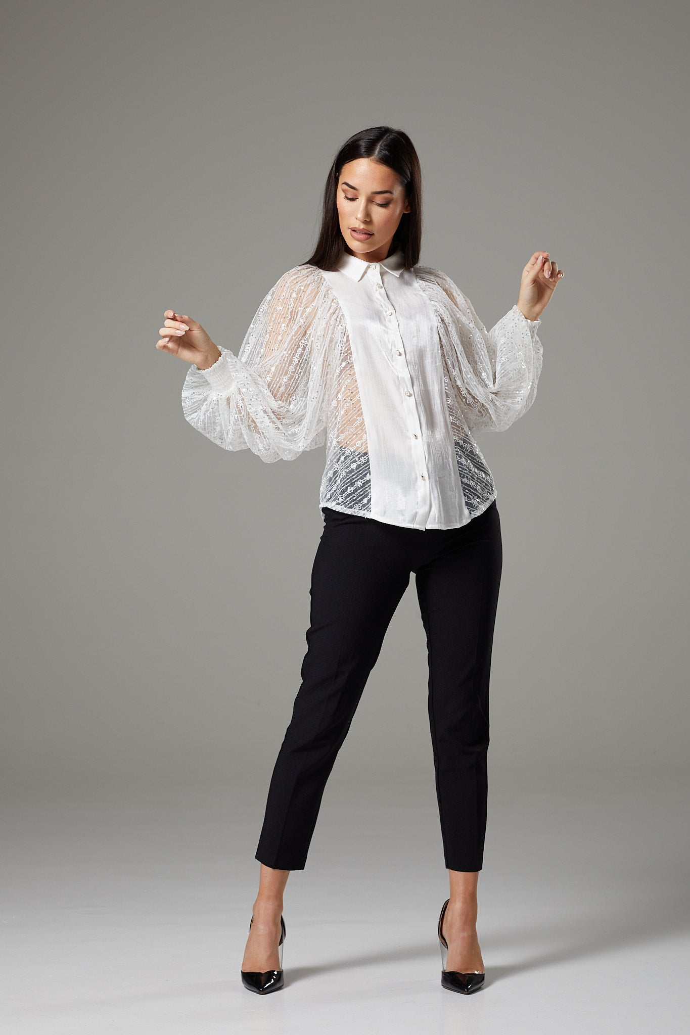 White Lace Batwing Sleeve Blouse with Collar