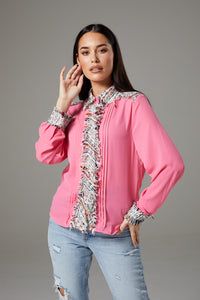 Pink Shirt with Rugged Fabric Accents